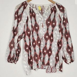 Line And Dot Sz XS Socompa Peasant Blouse Top